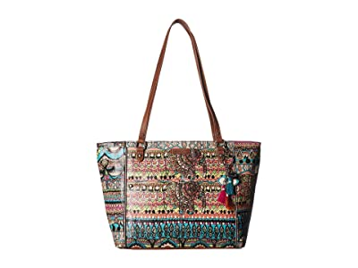 Sakroots Artist Circle Medium Embellished Satchel (Aqua One World) Tote Handbags