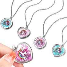 FROG SAC 4 Silver Unicorn Necklaces for Girls, Fairy Unicorn Shaker Pendant Necklace with Magical Glitter Pixie Dust for Little Girls - Unicorn Birthday Party Favors, Goodie Bag Fillers