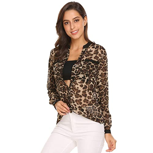 7ac320be331 EASTHER Women Casual V-Neck Long Sleeve Leopard Lightweight Chiffon Shirt