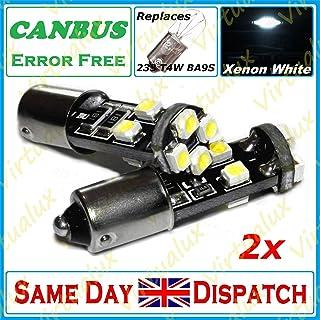 2x 8 SMD LED 233 BA9S T4W BAYONET CAP 360 HID XENON WHITE SIDE LIGHT BULB