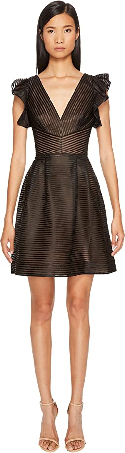 Marchesa Notte Striped Neoprene V-Neck A-Line Cocktail Dress