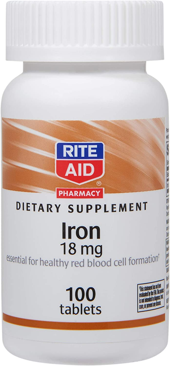 Rite Aid New sales Iron Supplement 18 favorite 100 - Tablets mg