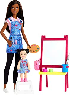 ​Barbie Art Teacher Playset with Brunette Doll, Toddler Doll, Easel with Color-Change Feature, Palette, Brush, Containers, Step Stool for Ages 3 and Up