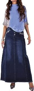 Style J Lily Blue Long Jean Skirt-Blue-38(18)