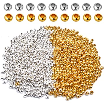 1000 SPACER BEADS 3mm Silver Gold Small Round Ball Metal Jewellery Making DIY