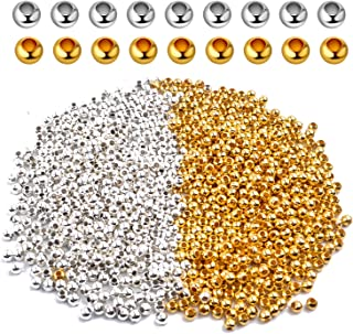 Crimp Beads 3mm, 1000 Pieces Stopper Beads Stainless Steel Bead Spacers For DIY Bracelet Jewelry Making, Gold and Sliver