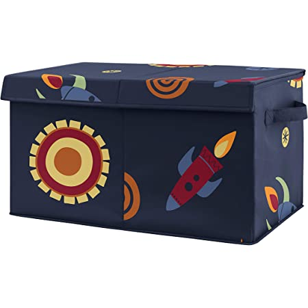 Sweet Jojo Designs Space Galaxy Planets Boy Small Fabric Toy Bin Storage Box Chest for Baby Nursery or Kids Room - Navy Blue Star and Moon Rocket Ship