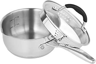 AVACRAFT Stainless Steel Saucepan with Glass Lid, Strainer Lid, Two Side Spouts for Easy Pour with Ergonomic Handle, Multipurpose Sauce Pan with Lid, Sauce Pot (Tri-Ply Capsule Bottom, 1.5 Quart)
