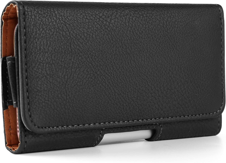Texture PU Leather Belt Clip Holster Compatible for Apple iPhone 11 Pro / XS / X / Samsung Galaxy A40 / S10e / J2 Core / J3 / Amp Prime 3 / LG Aristo 3 / Tribute Empire / Xiaomi Redmi Go