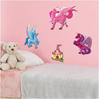 Unicorn Wall Decal Stickers - Spectacular 3D Wall Decor - Set of 4 Easy to Stick Removable Wall Decals for Kids Teens Bedrooms Boys Girls Rooms Peel and Stick