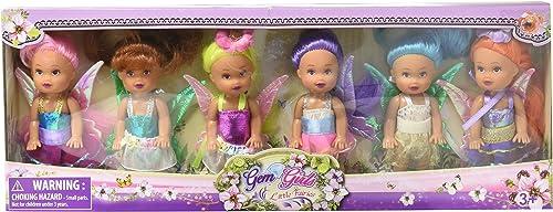 (Rosa, Gelb, Orange, Blau, lila, tan) - Mini Fairy Angels Collection- 6 Fairy Angel Dolls