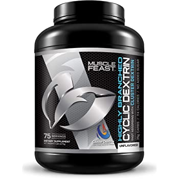 MUSCLE FEAST Highly Branched Cyclic Dextrin   Premium Pre-Workout or Post-Workout   Easy to Mix, Gluten-Free, Safe and Pure (5lbs, Unflavored)
