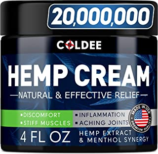 Coldee Pain Relief Hemp Oil Cream - 4oz - Made in USA - Natural Hemp Extract for Arthritis, Knee, Joint & Back Pain - Max ...