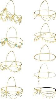 CASSIECA 9 unidades de cadena de cabeza dorada para mujer, diadema bohemia, diadema, diadema, diadema, fiesta, boda, novi...