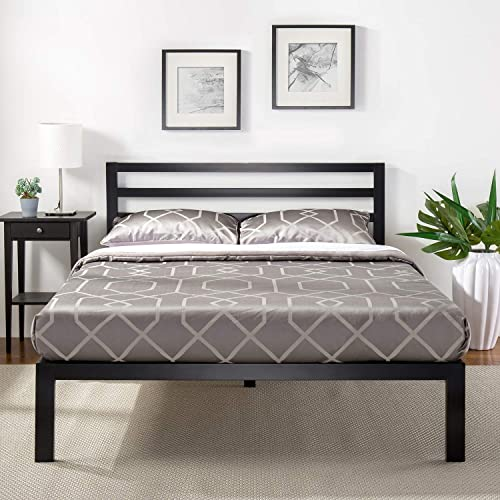 Zinus Black Modern Metal Steel Platform Queen Size Bed Frame Headboard Base Mattress Foundation | Wooden Slats Under ...