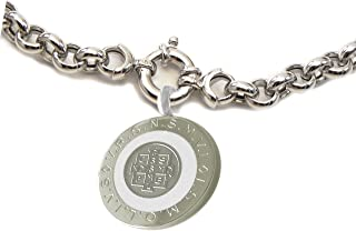 Catholic 28 MM St Benedict Medal Solid 7MM Rolo Chain Necklace with Mariner Clasp System Closing Color Medal Choice White Blue or Black