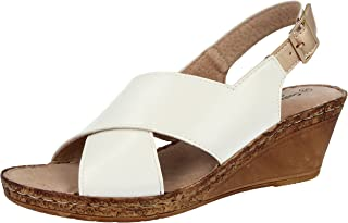 7e71b4e968 Ladies Cushion Walk Wide E Fit Leather Lined Wedge Peep Toe Strappy Summer  Sandal Size 3