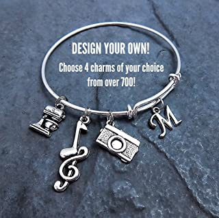Custom Design Your Own Charm Bracelet Expandable Bangle Personalized Jewelry Pick Your Charms