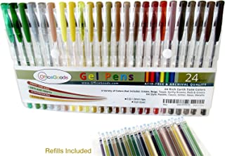 OfficeGoods Earth Tone Gel Pen Set - 24 Premium & Vivid Colors with a Full Set of Refills Included. Perfect for Nature Scenes, People & Animals - with 40 Percent MORE ink.
