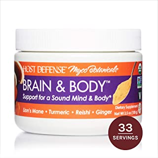 Host Defense, MycoBotanical Brain & Body Mushroom Powder, Support for Brain, Heart and Digestive Health, Certified Organic Supplement, 3.5 oz (33 Servings)