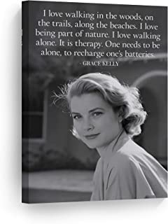 Quote by Grace Kelly with Pretty Smile Black and White Wall Art Canvas Print American Icon Artwork Home Decor Wall Decor Stretched Ready to Hang-%100 Handmade in The USA - 12x8