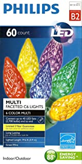 60ct Multi LED Faceted C6 String Lights Philips
