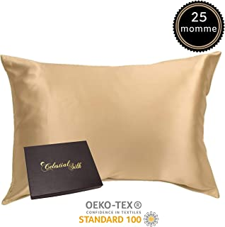 100% Silk Pillowcase for Hair Luxury 25 Momme Mulberry Silk, Charmeuse Silk on Both Sides -Gift Wrapped- (Queen, Taupe)