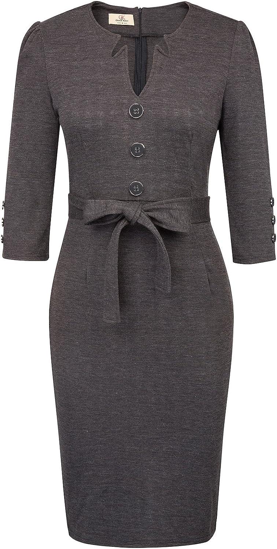 GRACE KARIN Women Retro 3 4 Sleeve Work Office Business Pencil Dress with Belt