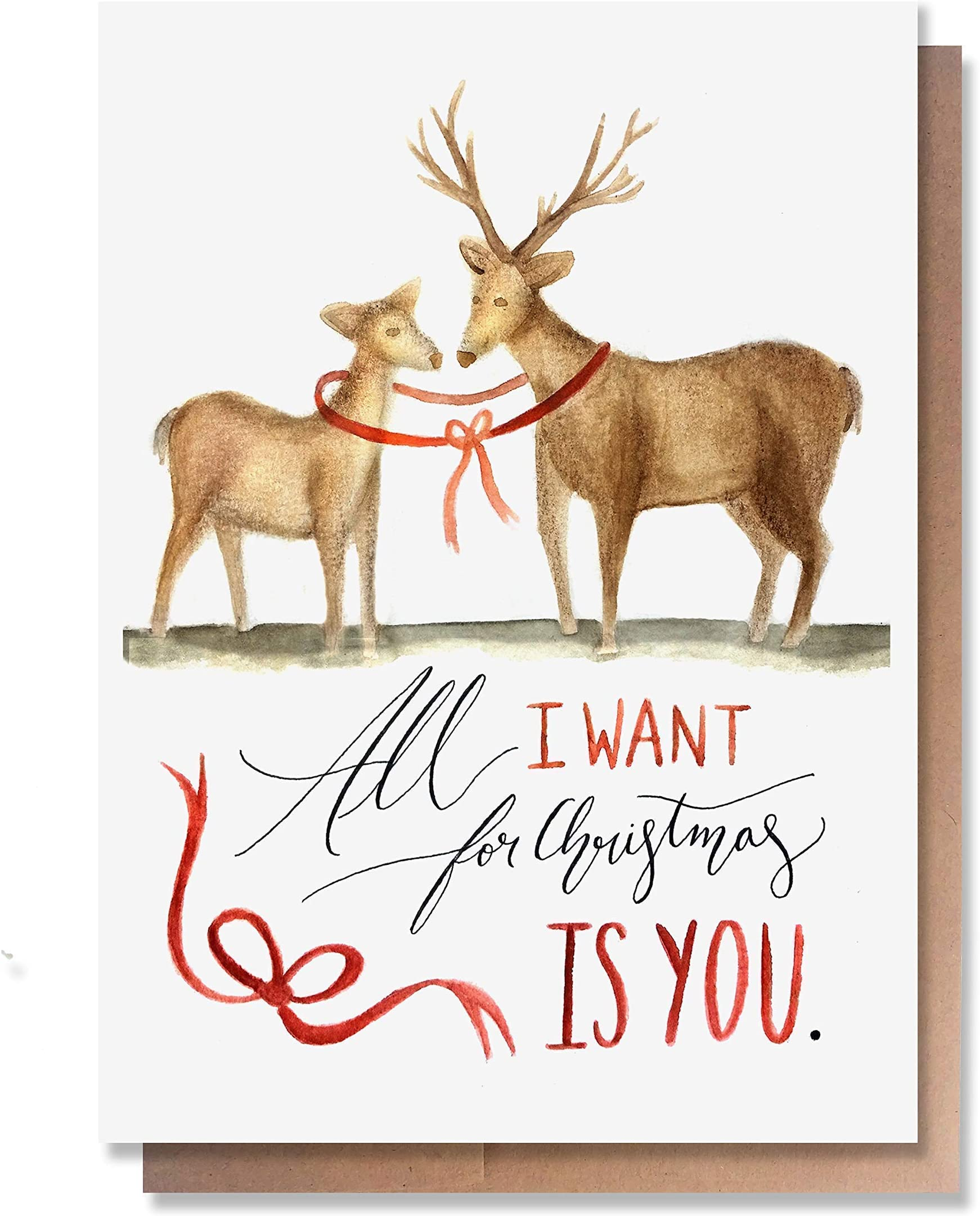 1 Single Card, Blank inside Wunderkid All I want for Christmas is You Reindeer Love Card