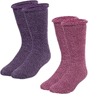 2 Pairs Womens Winter Thermal Socks Thick Crew for Cold Weather Warm Winter Crew Socks