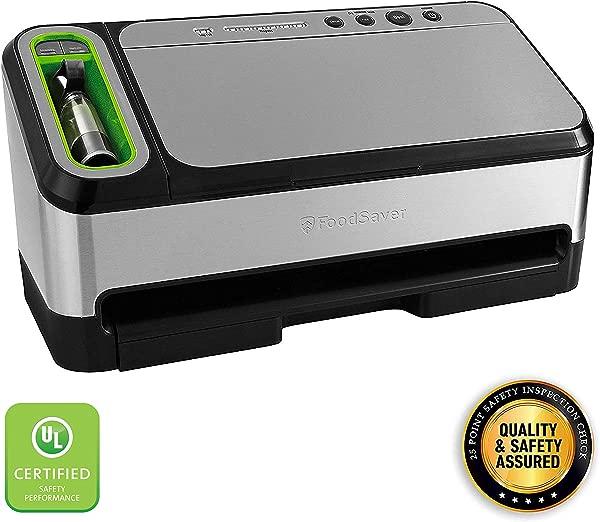 FoodSaver V4840 2 合 1 真空封口机具有自动袋子检测和入门套件安全认证的银色