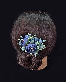 Navy Blue hair clip Flower clip Blue headpiece Floral hair piece bridesmaid clip Boho hair style