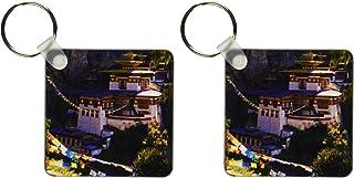 3dRose 8 x 8 x 0.25 Taksang Monastery near Paro, Bhutan, Howie Garber - Key Chains, set of 2 (kc_73448_1)