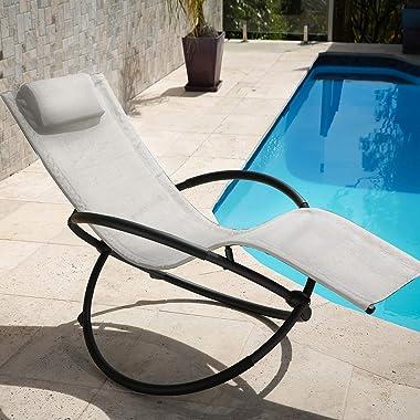 Arcadia Furniture Zero Gravity Portable Foldable Rocking Chair Recliner Lounge