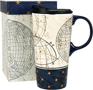 Topadorn Ceramic Travel Mug and Coffee Cup 17 oz. with Handle and Gift Box,Starstruck