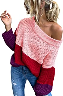 Angashion Women's Sweaters Casual One Off Shoulder Oversized Long Sleeve Color Block Patchwork Pullover Knit Sweater Tops