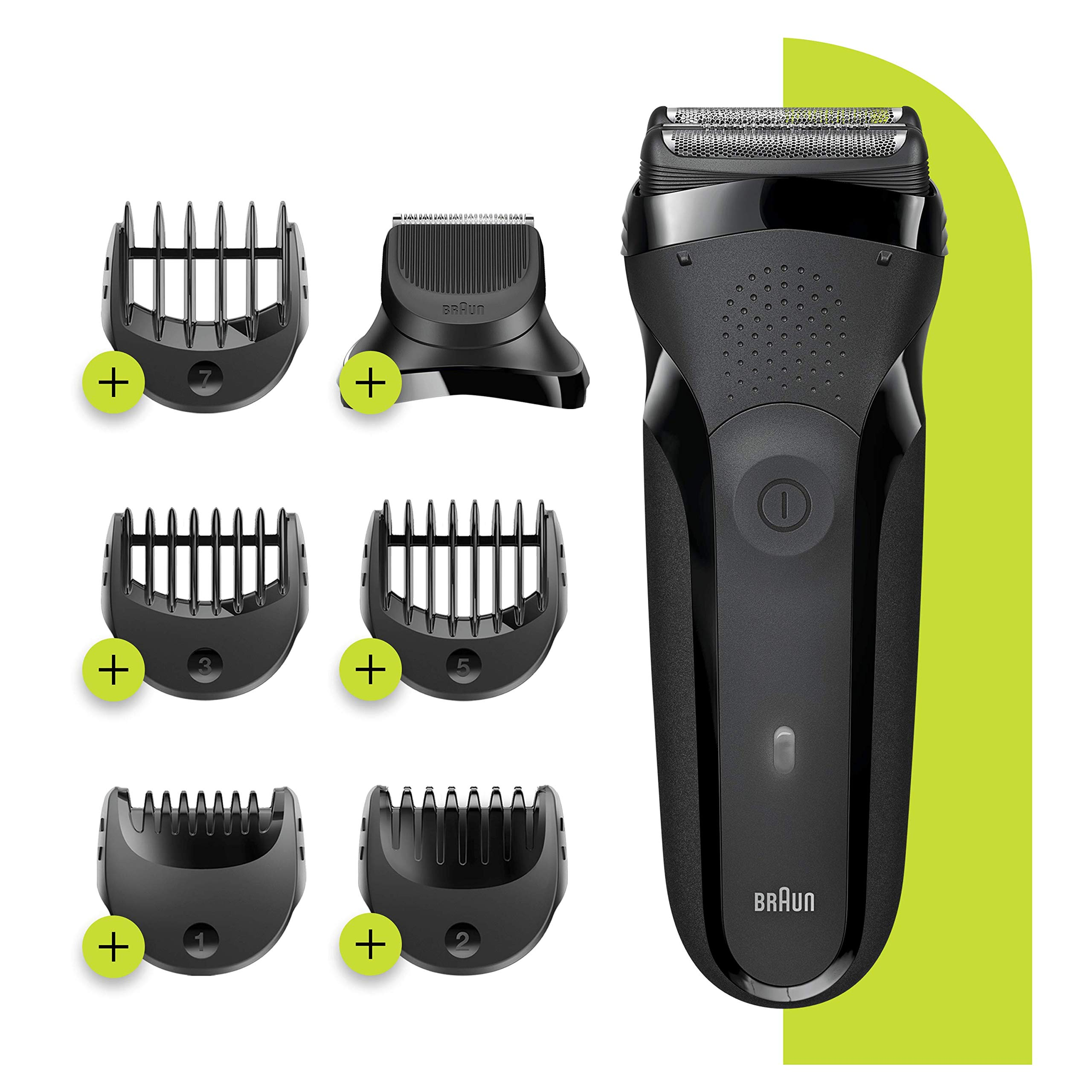 Braun Series 3 Shave&Style 300BT 3-in-1 Electric Shaver, Razor for Men with Precision Beard Trimmer and 5 Combs, Rechargeable and Cordless Shaver, Black
