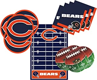 Chicago Bears Party Pack Tableware Supplies for 16 Guests - Includes 16 Dinner Plates, 16 Dessert Plates, 16 Dinner Napkins, and 1 Tablecover, Bundle