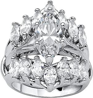 Silver Tone Marquise Cut Cubic Zirconia Jacket Bridal Ring Set