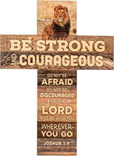 P. Graham Dunn Be Strong and Courageous Joshua 1:9 African Lion 14 x 10 Wood Wall Art Cross Plaque