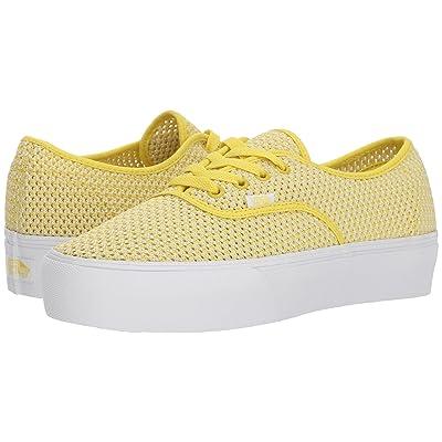 Vans Authentic Platform 2.0 ((Summer Mesh) Green Sheen/True White) Skate Shoes
