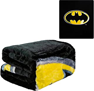 "JPI Batman Emblem Super Soft Plush Blanket 100% Polyester Fiber 79"" x 95"", Black"