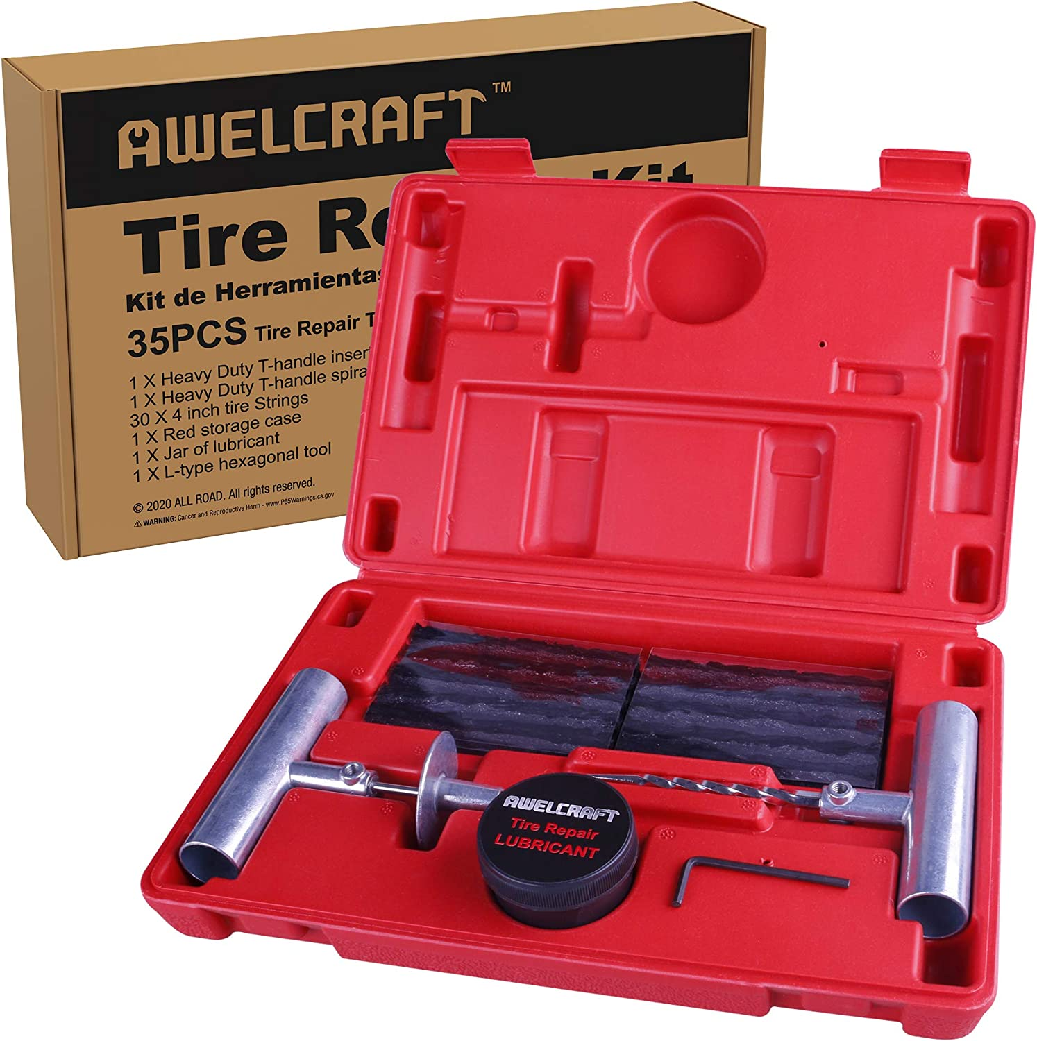 New product AWELCRAFT Universal Quality inspection Tire Repair Kit to Plug Fl Fix and Punctures