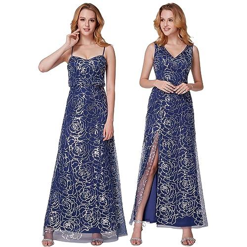 fe095bc168ac Ever Pretty Women's Side Slit Sparkling Sequin V Neck Long Evening Dress  07287