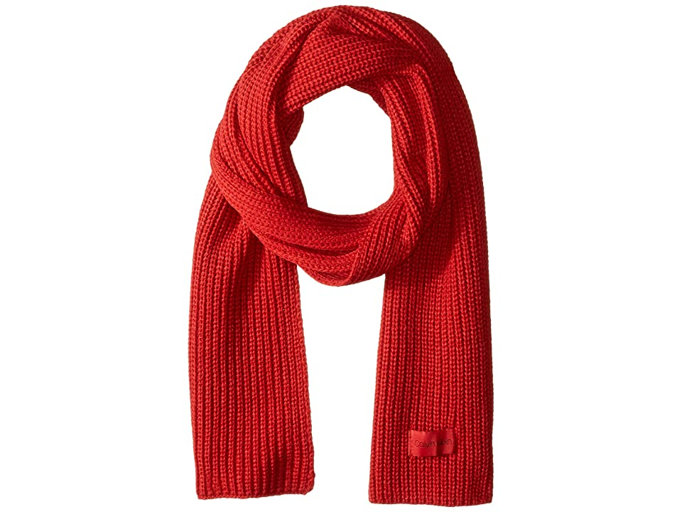 Calvin Klein Chunky Cardigan Rib Solid Scarf (Berry) Scarves
