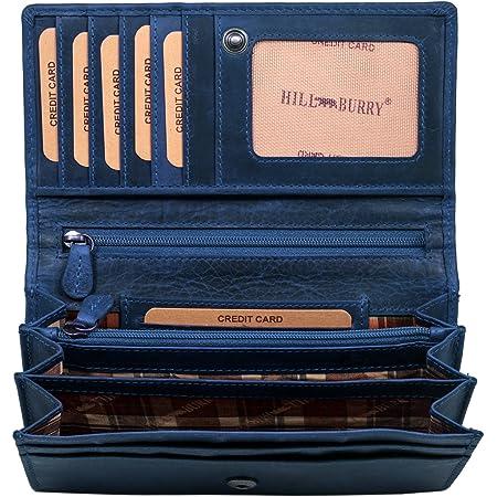 Hill Burry Cartera de Cuero para Mujer | Billetera - Monedero de Cuero Genuino con Aspecto Vintage | Mujeres - Hombre | XXL Largo Grande Capacidad (Azul)