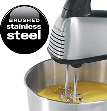Hamilton Beach Classic Hand and Stand Mixer, 4 Quarts, 6 Speeds with QuickBurst, 290 Watts, Bowl Rest, Black and Stainless (6