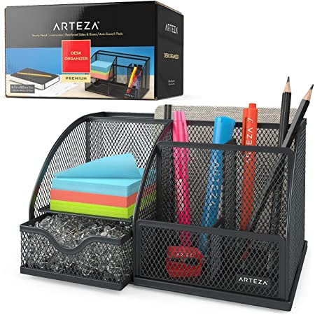 Arteza Metal Mesh Desk Organiser with Drawer, Black 6-Compartment Multi-Functional Desk Tidy for Office Supplies & Accessories Like Pens, Pencils, Notes, Staplers & Scissors