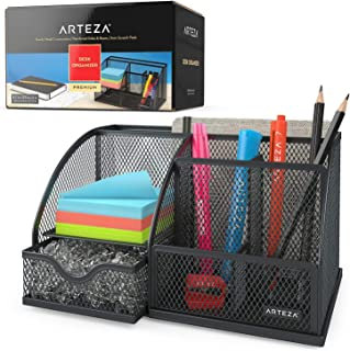 Arteza Mesh Metal Office Desk Organizer with Drawer, 6-Compartment Multi-Functional Design Holds Office Supplies & Accessories Like Pens, Pencils, Notes, Staplers & Scissors (Black)