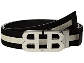 Mirror B Buckle Bally Stripe Canvas and Leather Belt